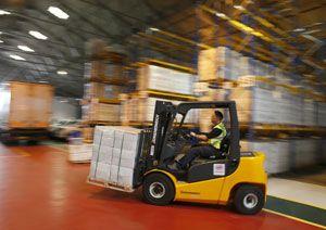 image: UK materials handling fork lift truck racking freight supply chain Jungheinrich