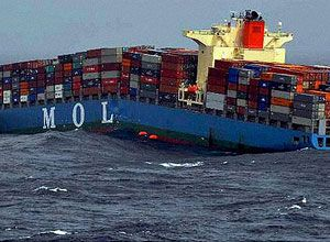 image: MOL container ship founders freight box carrier