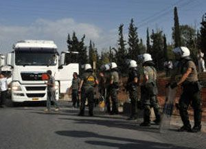 image: Greece haulage freight trucks strike 24 hour stoppage