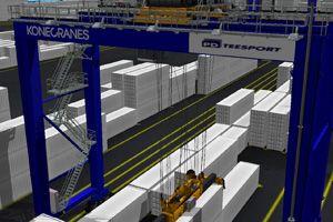 image: UK Finland TEU freight volume tonnes container terminal handling equipment logistics truck feeder