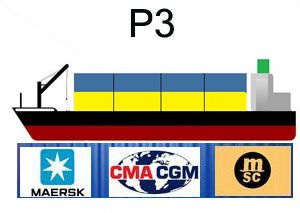 image: US conference container shipping line ocean freight P3 Maersk CMA MSC
