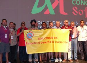 image: DHL Colombia express freight logistics shipping group Frank Appel ITF Congress