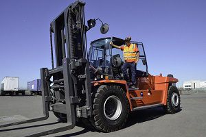 image: US Impact transportation freight handler Port of Oakland cleaner air forklift trucks