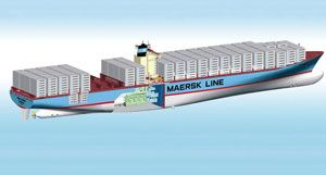 image: Maersk box line vessel container ship