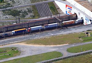 image: France Eurotunnel freight train truck shuttle Q1