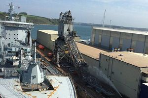 image: UK Falmouth port crane collapse explosion acetylene cylinders Royal Navy