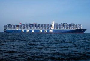 image: CMA CGM US Port of Oakland Los Angeles TEU container ship Benjamin Franklin