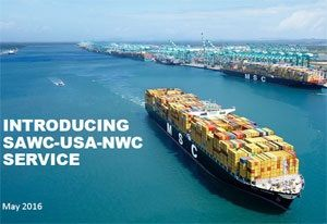 image: MSC South America US and European Loop container freight reefer project cargo