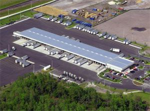 image: US ODFL container freight distribution facility cargo port rail head