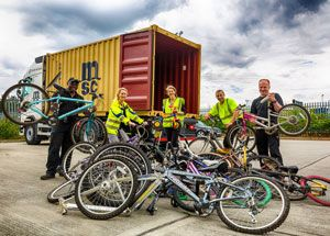 image: Ghana UK charity bicycles for humanity Diageo drinks MSC container shipping freight earthquakes hurricanes logistics
