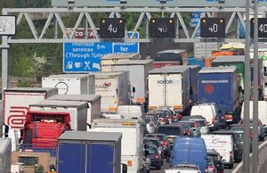 image: UK road freight haulage government e petition M25 Dartford toll truck