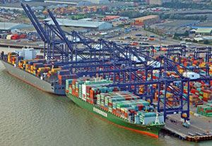 image: UK Port of Felixstowe container shipping berth TEU box vessel