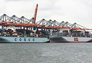 image: China freight carrier TEU container shipping lines COSCO OOIL OOCL Singapore port acquisition