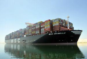image: MSC UK Isabella container cargo Port of Felixstowe reefer boxes ship