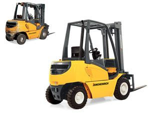 image: Girl Guides UK Dresden fork lift reach truck logistics warehouse