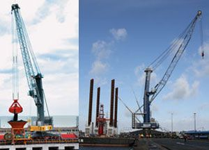 image: Austria Liebherr mobile harbour crane port materials handling bulk freight container shipping