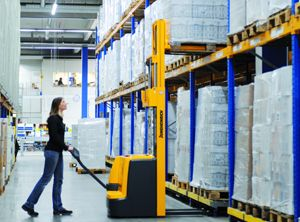 image: UK freight materials handling stacker fork truck Jungheinrich