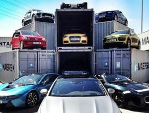 image: Pentalver Top Gear Magazine freight container Mercedes Benz S63 Coupe Rolls Royce Wraith BAC Mono Citroen C-Cactus Porsche Macan VW UP Jaguar Project 7 BMW i8 Range Rover and Audi S1