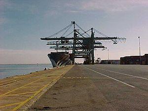 image: Australia container terminal boxes freight logistics union