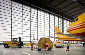 image: US DHL express delivery air freight cargo handling hub