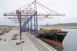 image: South Africa TEU shipped container box terminal cargo GPS