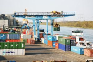 image: Belgium Germany EU merger freight forwarding inland waterway barge rail cargo logistics container terminal
