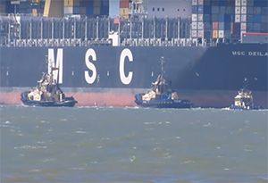 image: UK US Tug captain freight logistics shipping personnel staff news Port of Felixstowe