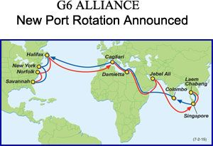 image: G6 Asia Alliance container freight shipping lines Halifax APL Hapag-Lloyd Hyundai Merchant Marine Mitsui OSK. Lines Nippon Yusen Kaisha Orient Overseas Container Line