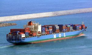 image: MOL Japan container shipping lines TEU ocean freight