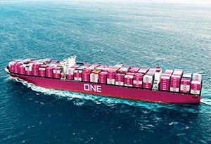 image: Japan Ocean Network Express ONE Alliance MYK MOL K line shipping container freight network