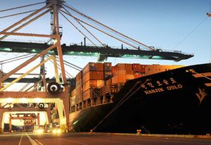 image: New York port ILWU container shipping freight gridlocked labour dispute chassis