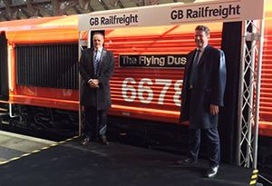 image: UK GB Railfreight (GBRf) and Biffa intermodal waste biomass the Flying Dustman locomotive