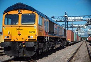 image: UK Port of Felixstowe intermodal container freight rail road haulage GB Railfreight