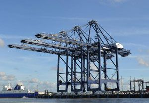 image: UK Liebherr Austria ZPMC Russia maritime cranes container freight heavy lift cargo oversized Felixstowe Port