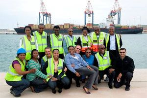 image: Ngqura South Africa port container shipping freight terminal intermodal multi modal TEU reefer
