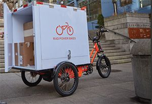 image: US Europe RadBurro Rad Power tricycle commercial electric urban freight logistics ecologically friendly