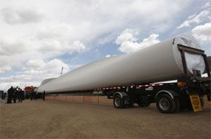 image: UK freight shipping truck tonne wind turbine road haulage heavy lift abnormal load out of gauge