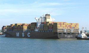 image: MSC shipping container port vessel Sri Lanka