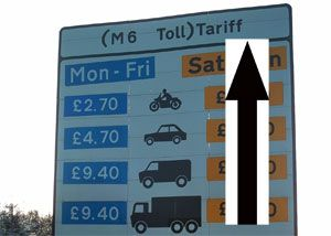 image: M6 road tolls freight transport truck trucks hauliers tachograph emissions vehicle congestion