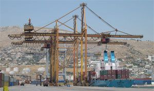 image: Piraeus, container, port, road, freight,dock, dockers, workers, strike, COSCO, terminal, TEU, perishable, trade, overtime, industrial, unrest