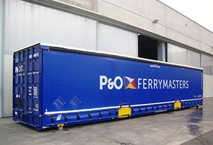 image: UK pan-European logistics specialist P&O Ferrymasters Kangarou road trailers containers ocean freight intermodal cargo units