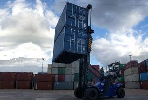 image: UK Maritime transport road haulage multimodal logistics container handling Cooper DHL ports