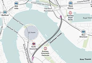 image: Thames tunnel Silvertown freight road haulage river crossing Blackwall HGVs Dartford