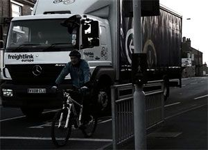 image: Bradford West Yorkshire road haulage freight truck training cyclist safety video