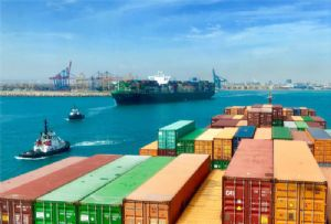 image: Spain, Valenciaport, port, container, traffic, freight, RoRo, TEU, MSC Gulsun, cranes, Mediterranean,