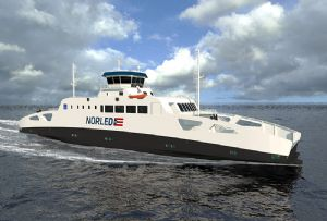 image: Europe France Norway tug boat push barge hydrogen power EU Flagships project