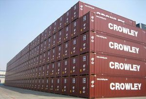 image: US Crowley maritime logistics shipping container genset chassis reefer cargo carrying equipment
