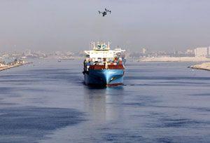 image: Panama Suez Canal drones VLCC merchant vessels Electronic Nautical Charts