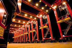 image: Finland Colombia RTG�s container shipping terminal cranes