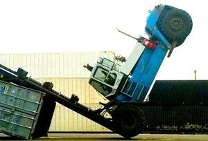 image: Netherlands fork lift truck driver moving freight danger RAVAS warehouse racking